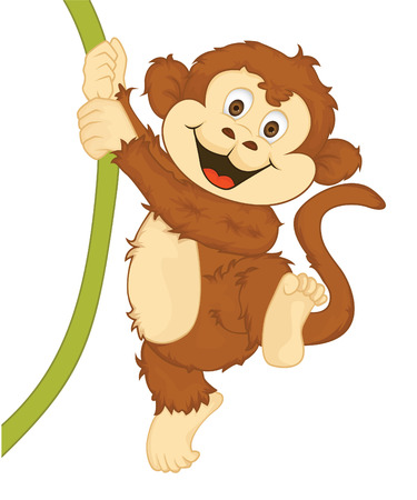 고립 된: 원숭이 벡터 만화 그림 일러스트