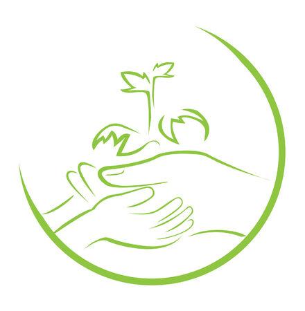 wellness environment: green hand symbol Illustration