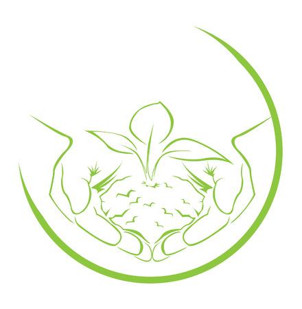 green hand: green hand symbol Illustration