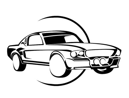 Old Muscle Car Vector