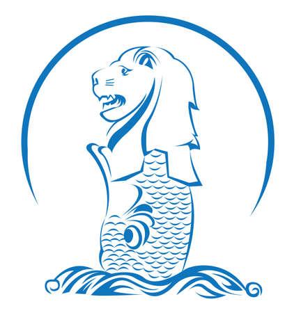 lion dessin: Lion Singapour
