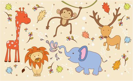 kid vector: Animal Safari Doodle Vectores