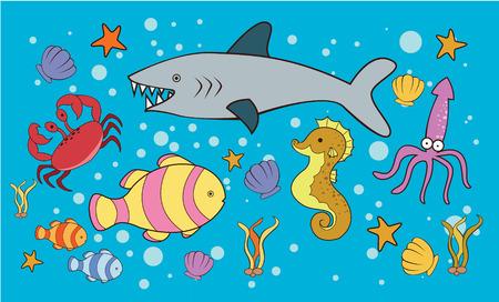 Sea Animal Doodle Vector