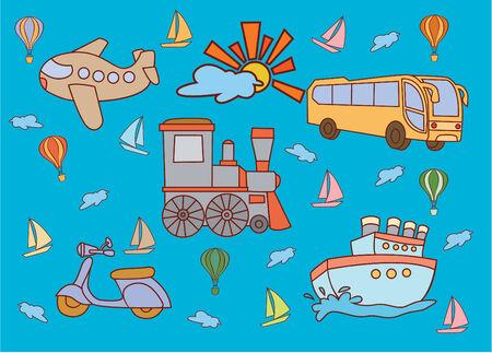 cartoon transportation: Funny and Cute Transportation set