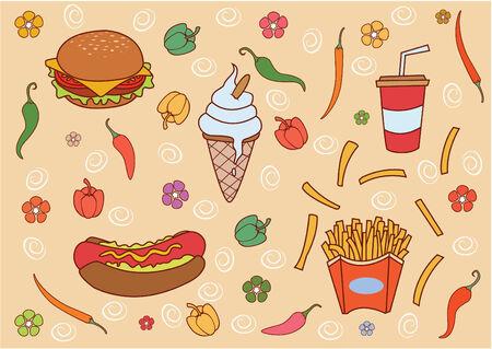 aliments droles: Dr�le et mignon jeu Fast Food