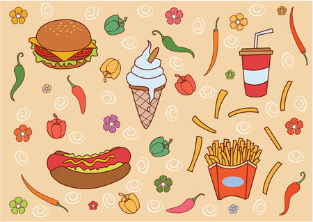 food and beverages: Funny and Cute Fast Food set Illustration
