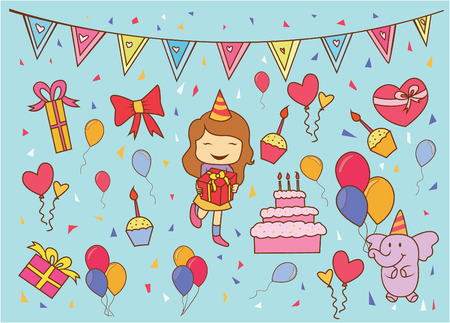 Birthday Party Doodle Vector