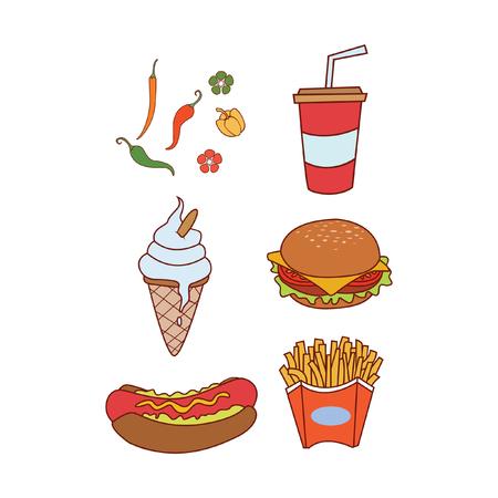 kiddy: Fast Food Doodle set Illustration