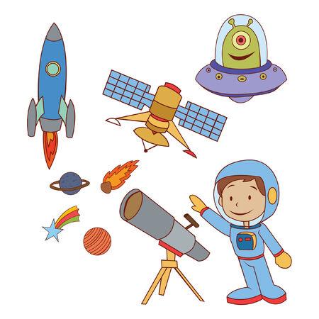 Doodle Planet Space set Vector
