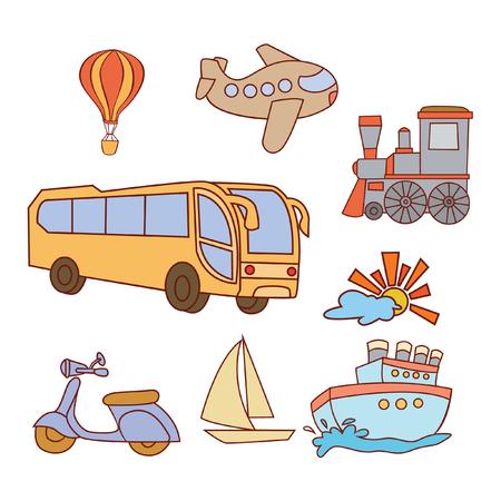 Doodle Transportation Set Vector