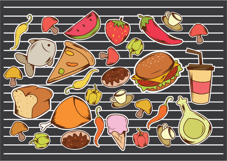 funny food: Funny Food and Drink Illustration