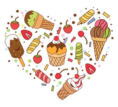 Ice Cream Love Banner Vector