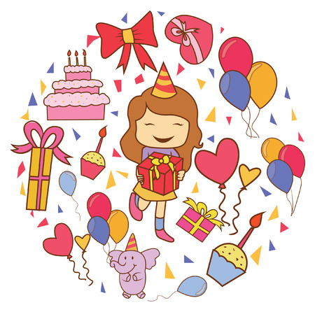 Birthday Party Doodle Circle Banner Vector