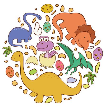 Dinosaur Cute Circle Banner Vector