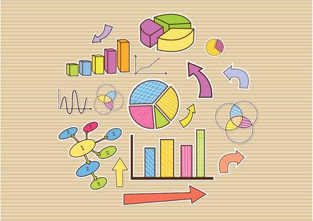 Banner doodle hand drawn business finance statistics infographics elements. Vector