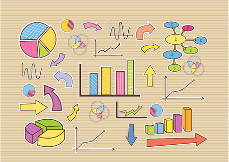 Background doodle hand drawn business finance statistics infographics elements. Vector