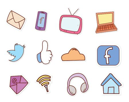 communication icons: social media Illustration