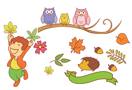 Autumn Season Object Collection Vector