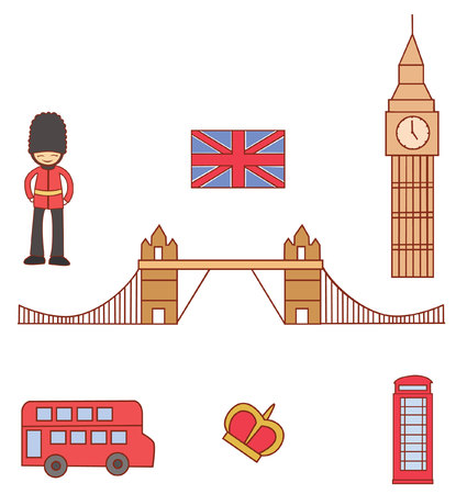 England Tourism  Object Collection Vector