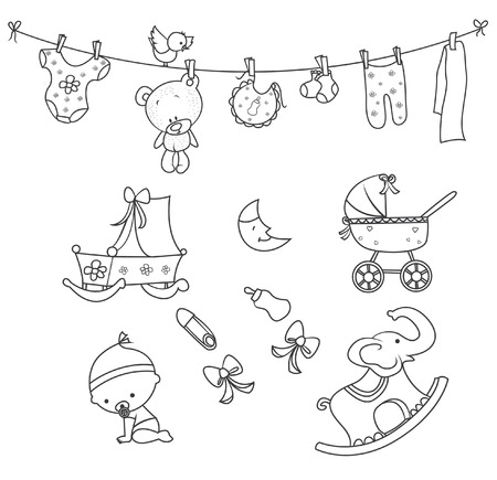 ni�os con pancarta: Doodle beb� Objeto dibujado mano del Doodle del bosquejo