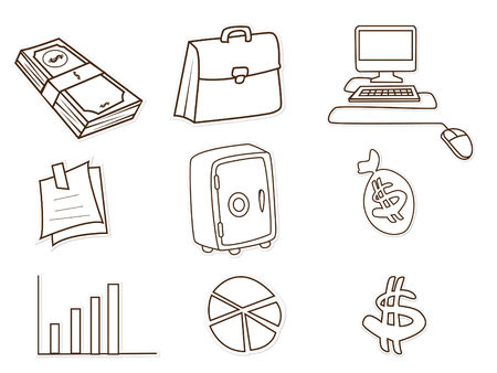 Business and Finance Object Hand Drawn Sketch Doodle Vector