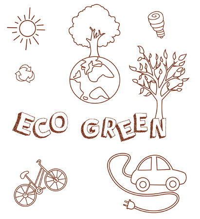 Eco Green Doodle Object Collection Hand Drawn Sketch Doodle Vector