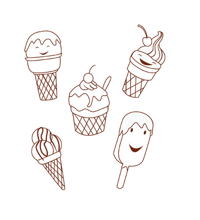 Ice Cream Object Collection Hand Drawn Sketch Doodle Vector