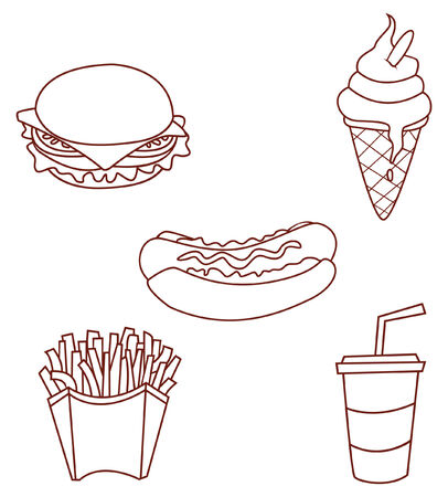 kiddy: Fast Food Object Collection Hand Drawn Sketch Doodle