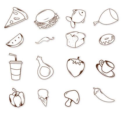 dibujos lineales: Comida y bebida objeto dibujado mano del Doodle del bosquejo Vectores