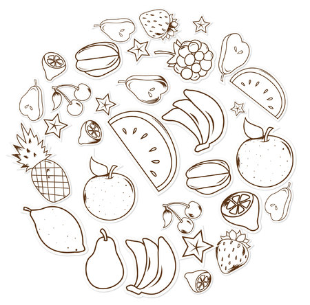 kiddy: fruits and vegetables Object Hand Drawn Sketch Doodle