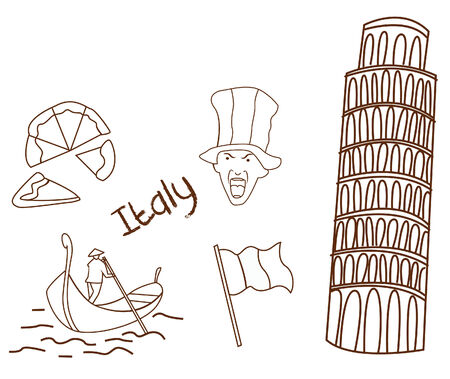 kiddy: Italy tourism hand drawn Sketch Doodle