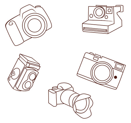 camera object Collection Hand Drawn Sketch Doodle Vector