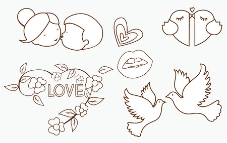 drawing dove: Love Symbol Object Collection Hand Drawn Sketch Doodle