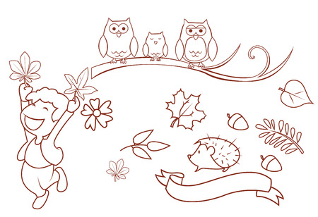 Autumn Season Object Collection Hand Drawn Sketch Doodle Vector