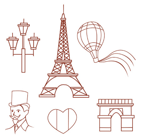 France Traveling Object Collection Hand Drawn Sketch Doodle Vector