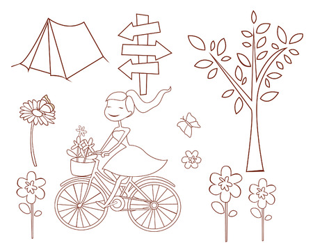 Spring Doodle Object Collection Hand Drawn Sketch Doodle Vector