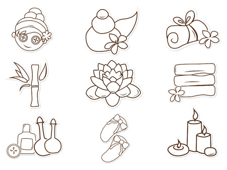 Spa and Salon cute Object Hand Drawn Sketch Doodle Vector