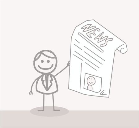 Funny Doodle : Business Man Reads News Vector
