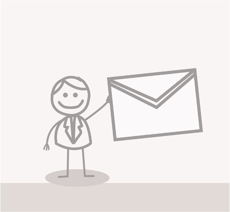 mail man: Divertido Doodle: correo hombre de negocios Vectores