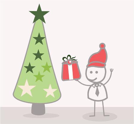 christmass: Funny Doodle : Businessman Christmass Tree