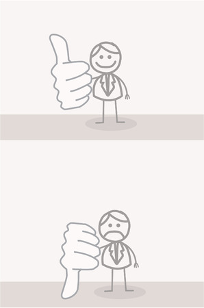 employee satisfaction: Funny Doodle : Business Man Thumb UP DOWN