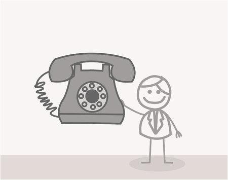 old phone: Doodle : Businessman Old Phone