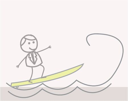 gold coast: Doodle : Businessman Surfer