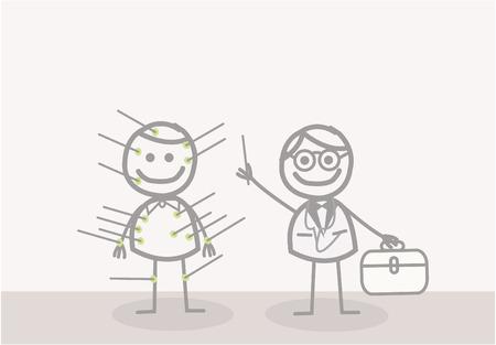 acupuncturist: Doodle: acupunturista Vectores