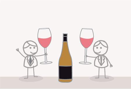 toasting wine: Doodle Businessman with Wine Toast Illustration