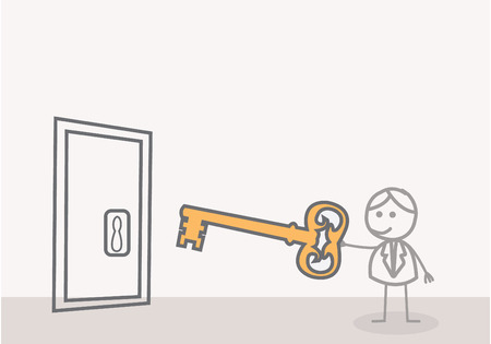 Man with a Key Door Vector