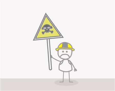 Man Danger Sign Vector