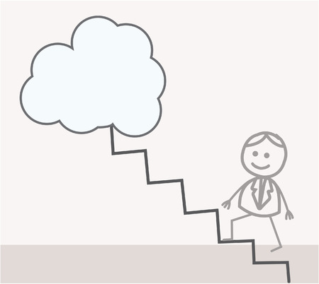 Man Up the stairs to the sky Vector