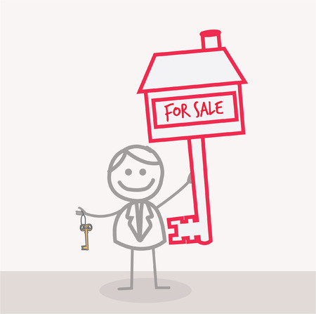 house sale: Man with Key For Sale House Illustration