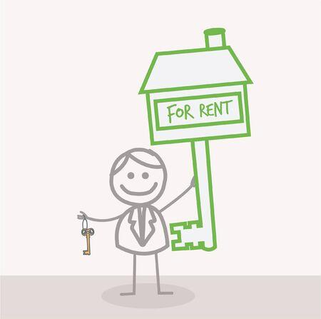 rent a car: Key For Rent Illustration